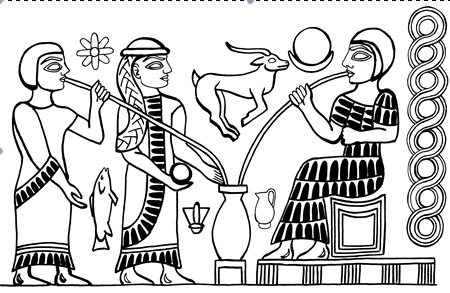 Hieroglyph found on Sumerian pottery in Godin Tepe.  Image shows three people drinking from a vessel that is believed to hold beer.